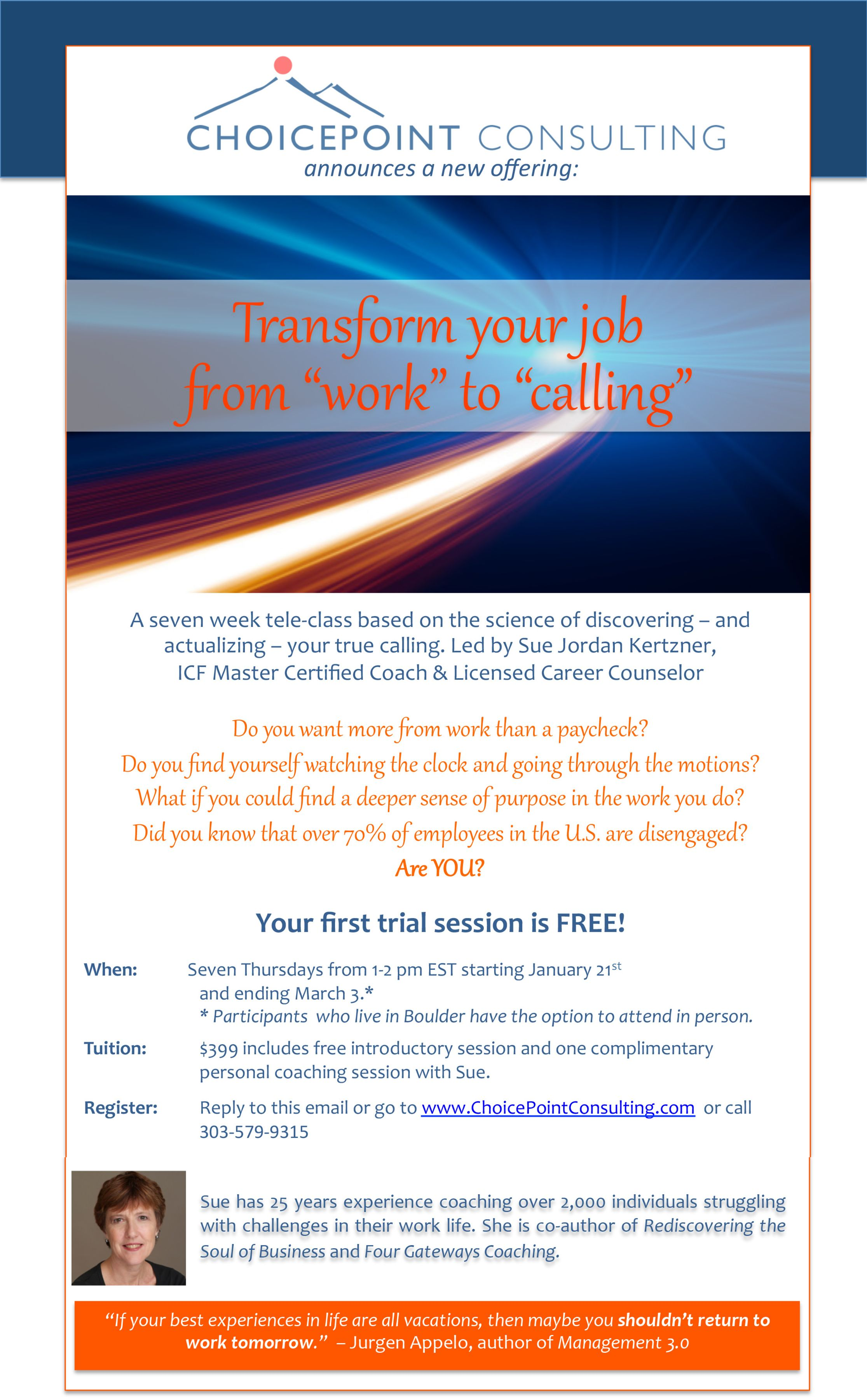 transform your job from work to calling